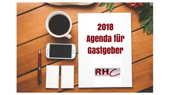2018 Agenda für Gastgeber