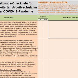 Checkliste zur Umsetzung des Arbeitsschutzstandards